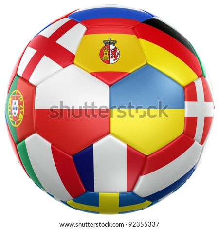 3d rendering of a soccer ball with flags from the countries participating in the euro 2012 cup - stock photo
