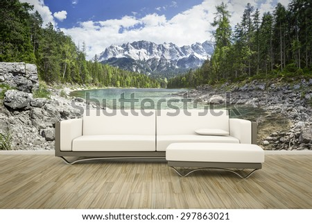 3D rendering of a sofa in front of a photo wall mural Eibsee Zugspitze - stock photo