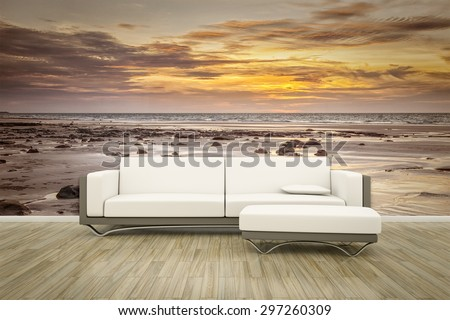 3D rendering of a sofa in front of a photo wall mural ocean sunset - stock photo