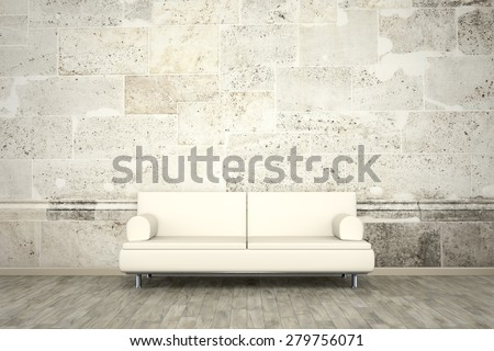 3d rendering of a sofa in front of a photo wall mural stone wall - stock photo