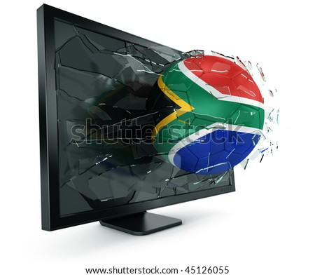 3d rendering of a South African soccerball breaking through monitor - stock photo