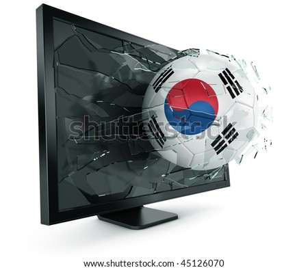 3d rendering of a South korean soccerball breaking through monitor - stock photo