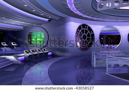 3D rendering of a spaceship - stock photo
