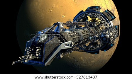 3d Rendering Spaceship Flying Next Mars Stock Illustration ...