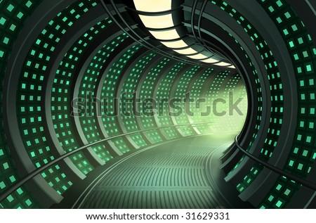 3D rendering of a spaceship hallway - stock photo