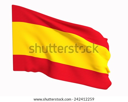 3d rendering of a Spain flag on a white background - stock photo