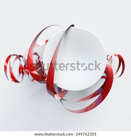 3D rendering of a Sphere and red ribbon, abstract shape - stock photo