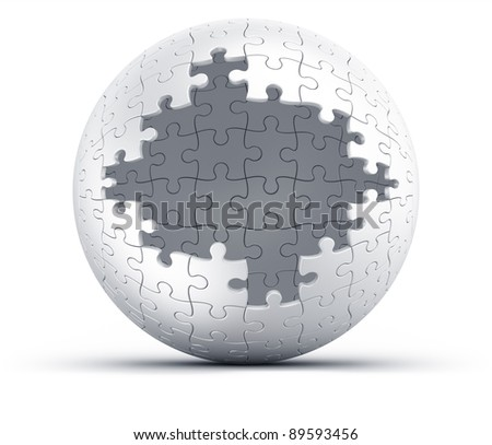 3d rendering of a spherical puzzle with a big hole