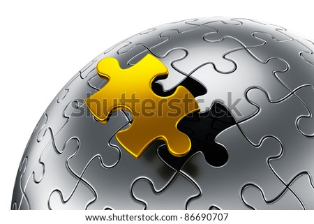 3d rendering of a spherical puzzle with on gold  piece disconnected - stock photo
