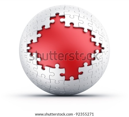 3d rendering of a spherical puzzle with pieces missing - stock photo
