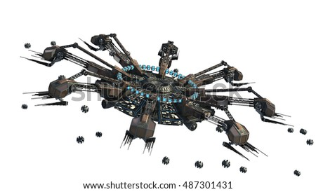 3D Rendering Of A Spider Shaped UFO With Drones For Futuristic Fantasy