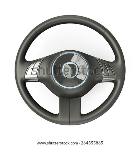 3D rendering of a sport car steering wheel - stock photo