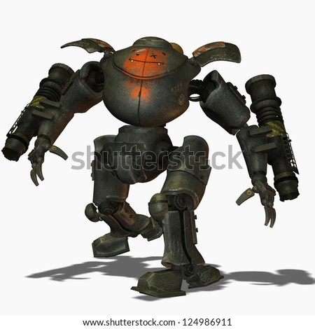3D rendering of a Steampunk combat robots - stock photo