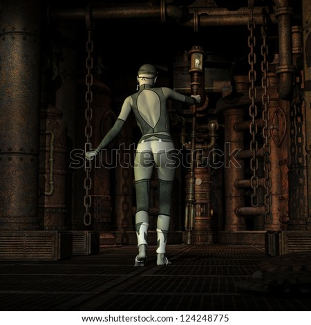 3D rendering of a Steampunk Girl in the engine room - stock photo