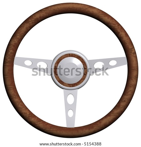 3D rendering of a steering wheel isolated on white - stock photo