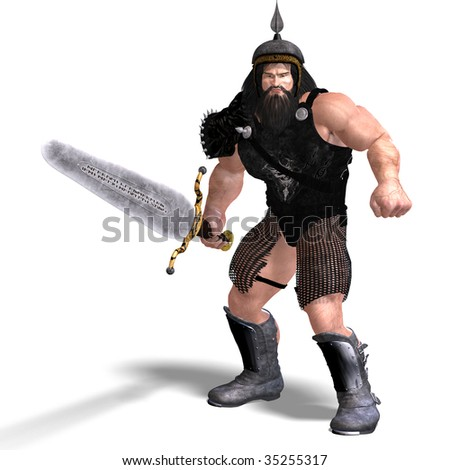 3D rendering of a strong dwarf with sword with clipping path and shadow over white