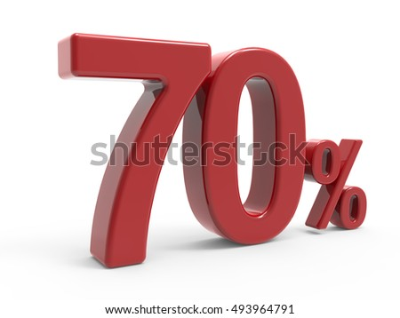 3d rendering of a 70% symbol, isolated on white background, left leaning