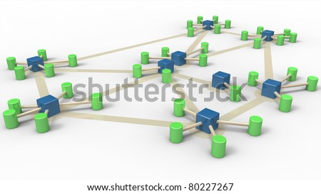 3D rendering of a symbolic network isolated on white background - stock photo