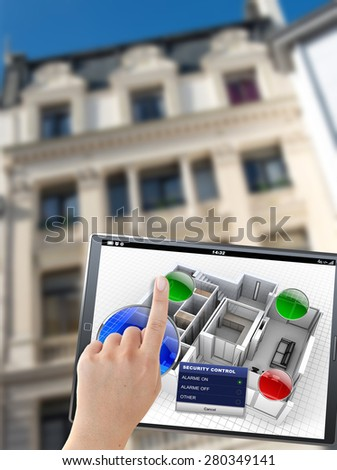 3D rendering of a tablet with an apartment control panel, in front of a building - stock photo