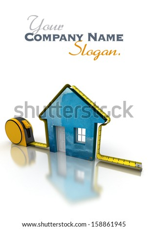 3D rendering of a tape measure around a simple house - stock photo