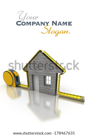 3D rendering of a tape measure in the shape of a house - stock photo