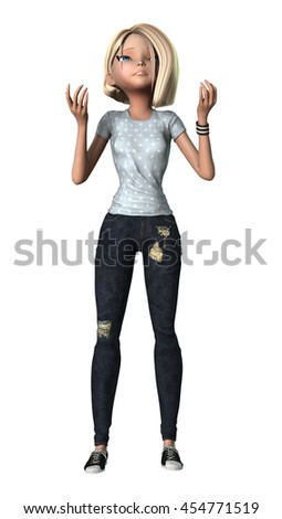 3D rendering of a teenage girl isolated on white background - stock photo
