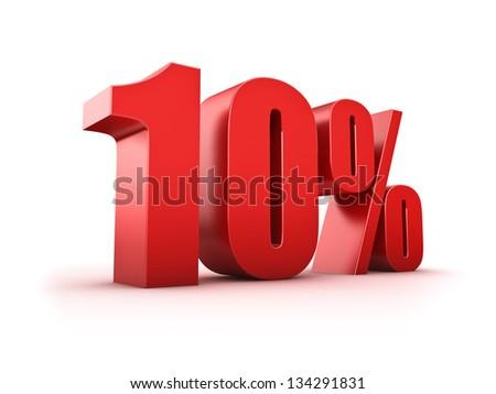 3D Rendering of a ten percent symbol - stock photo