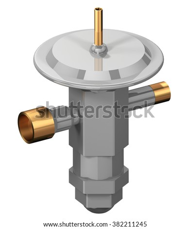 3D rendering of a Thermal Expansion Valve (TEV) used in refrigeration systems. - stock photo