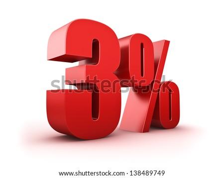 3D Rendering of a three percent symbol - stock photo