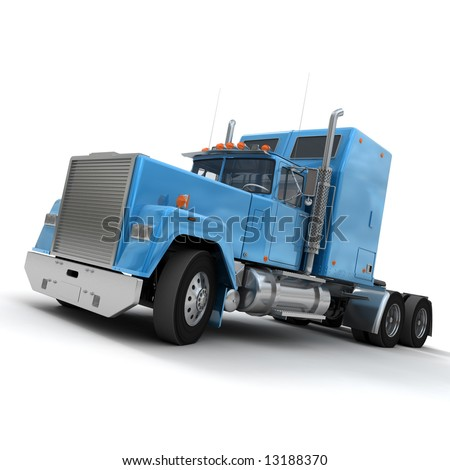 3D rendering of a trailer truck in blue