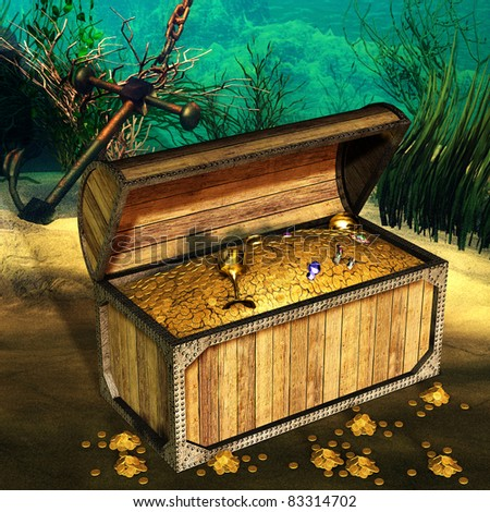 3d rendering of a treasure on the ocean floor as an illustration - stock photo