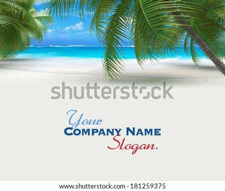 3D rendering of a tropical beach with lots of copy space - stock photo