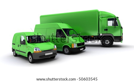 3D rendering of a truck, a van and a lorry against a neutral background - stock photo
