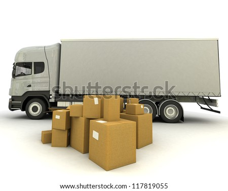 3D rendering of a truck and a group of cartons - stock photo