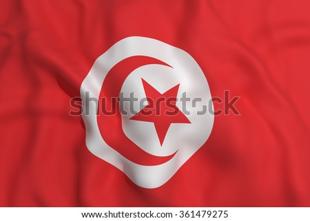 3d rendering of a Tunisia flag waving - stock photo