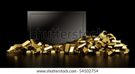 3d rendering of a tv surrounded with gold bars - stock photo