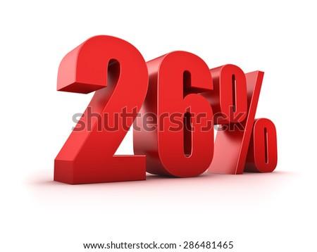 3D Rendering of a twentysix percent symbol - stock photo