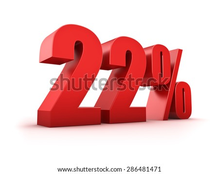 3D Rendering of a twentytwo percent symbol - stock photo