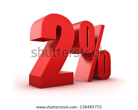 3D Rendering of a two percent symbol - stock photo