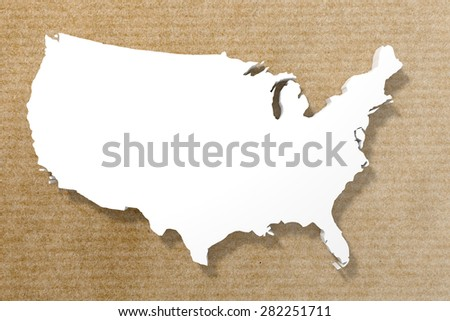 3d rendering of a United States map on an old paper background - stock photo