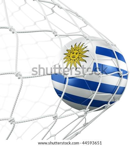 3d rendering of a Uruguayan soccer ball in a net - stock photo