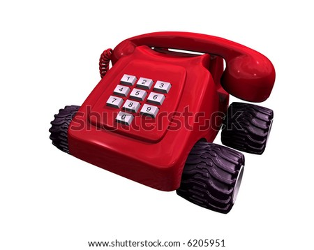 3D-rendering of a vintage red telephone on wheels on a neutral background