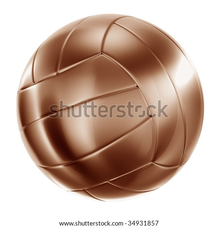 3d rendering of a volleyball in bronze