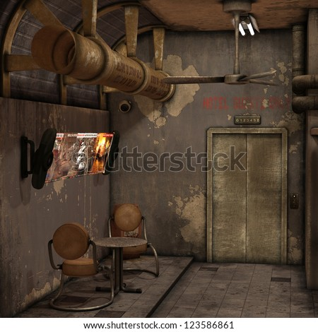 3D rendering of a waiting room of an old hotel - stock photo