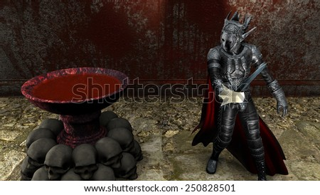 3D rendering of a warrior at bloody wall background - stock photo