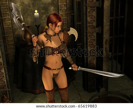 3D rendering of a warrior with sword and battleaxe - stock photo
