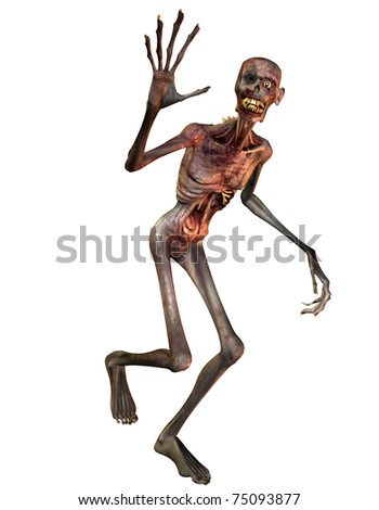 3D Rendering of a waving Zombie