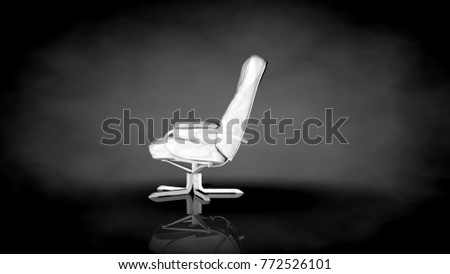 3d rendering of a white chair on a black background with ground reflection