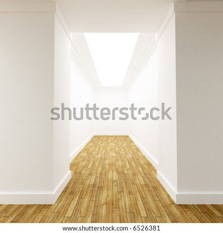 3D rendering of a White corridor with parquet floor with a dead end - stock photo