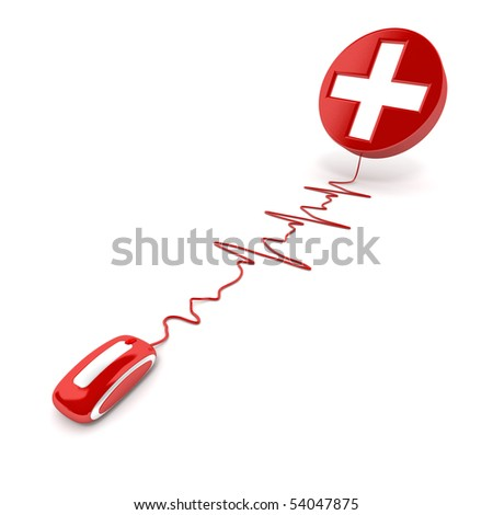 3D rendering of a white cross on red connected to a computer mouse with the cable shaped like a heartbeat graphic - stock photo